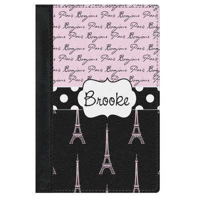 Paris Bonjour and Eiffel Tower Genuine Leather Passport Cover (Personalized)