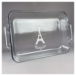 Paris Bonjour and Eiffel Tower Glass Baking and Cake Dish (Personalized)