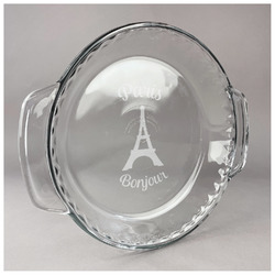 Paris Bonjour and Eiffel Tower Glass Pie Dish - 9.5in Round (Personalized)