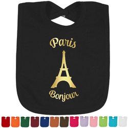 Paris Bonjour and Eiffel Tower Foil Baby Bibs (Select Foil Color) (Personalized)