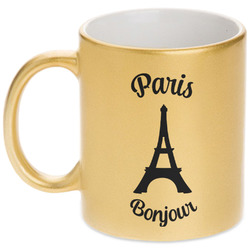 Paris Bonjour and Eiffel Tower Gold Mug (Personalized)