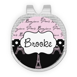 Paris Bonjour and Eiffel Tower Golf Ball Marker - Hat Clip