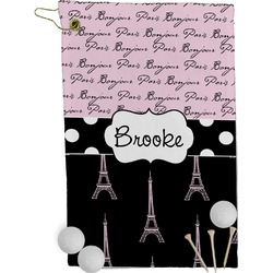 Paris Bonjour and Eiffel Tower Golf Towel - Full Print (Personalized)