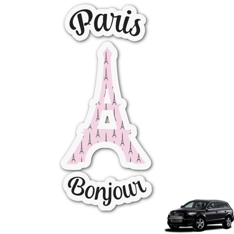 A Paris Apartment And A Paris Graphic: Paris Bonjour And Eiffel Tower Graphic Car Decal