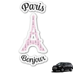 Paris Bonjour and Eiffel Tower Graphic Car Decal (Personalized)