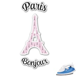 "Paris Bonjour and Eiffel Tower Graphic Iron On Transfer - Up to 9""x9"" (Personalized)"