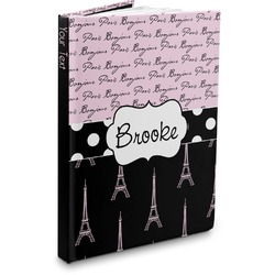 Paris Bonjour and Eiffel Tower Hardbound Journal (Personalized)