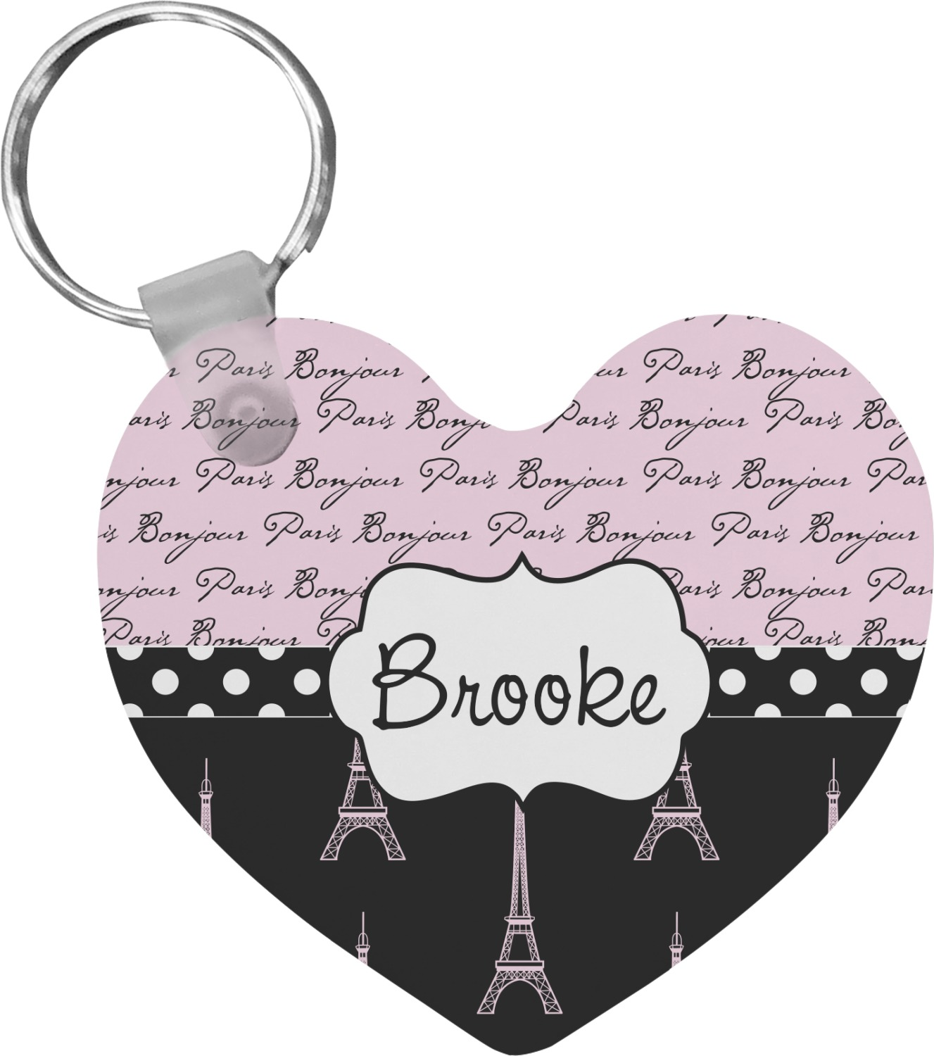 paris bonjour and eiffel tower heart keychain personalized