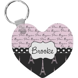 Paris Bonjour and Eiffel Tower Heart Keychain (Personalized)
