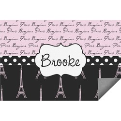 Paris Bonjour and Eiffel Tower Indoor / Outdoor Rug - 3'x5' (Personalized)