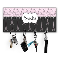 Paris Bonjour and Eiffel Tower Key Hanger w/ 4 Hooks (Personalized)