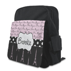 Paris Bonjour and Eiffel Tower Kid's Backpack with Customizable Flap (Personalized)