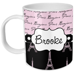 Paris Bonjour and Eiffel Tower Plastic Kids Mug (Personalized)
