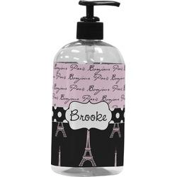 Paris Bonjour and Eiffel Tower Plastic Soap / Lotion Dispenser (Personalized)