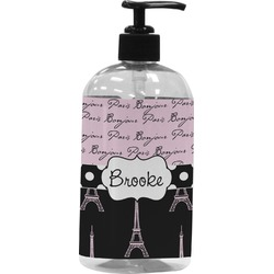 Paris Bonjour and Eiffel Tower Plastic Soap / Lotion Dispenser (Personalized)