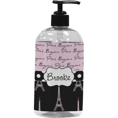 Paris Bonjour and Eiffel Tower Plastic Soap / Lotion Dispenser (16 oz - Large) (Personalized)