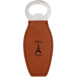 Paris Bonjour and Eiffel Tower Leatherette Bottle Opener (Personalized)