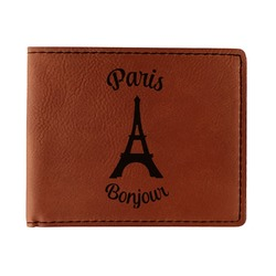 Paris Bonjour and Eiffel Tower Leatherette Bifold Wallet (Personalized)