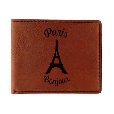 Paris Bonjour and Eiffel Tower Leatherette Bifold Wallet (Personalized)