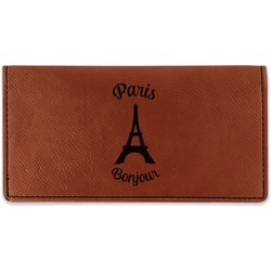 Paris Bonjour and Eiffel Tower Leatherette Checkbook Holder - Double Sided (Personalized)