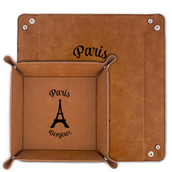 Paris Bonjour and Eiffel Tower Faux Leather Valet Tray (Personalized)