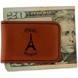 Paris Bonjour and Eiffel Tower Leatherette Magnetic Money Clip (Personalized)