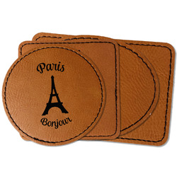 Paris Bonjour and Eiffel Tower Faux Leather Iron On Patch (Personalized)