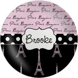 Paris Bonjour and Eiffel Tower Melamine Plate (Personalized)