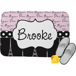 Paris Bonjour and Eiffel Tower Memory Foam Bath Mat (Personalized)