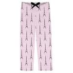 Paris Bonjour and Eiffel Tower Mens Pajama Pants (Personalized)
