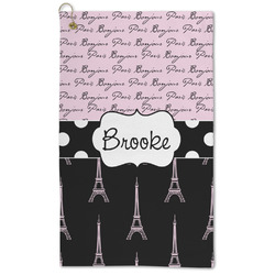 Paris Bonjour and Eiffel Tower Microfiber Golf Towel - Large (Personalized)