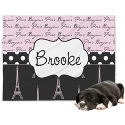 Paris Bonjour and Eiffel Tower Minky Dog Blanket - Regular (Personalized)
