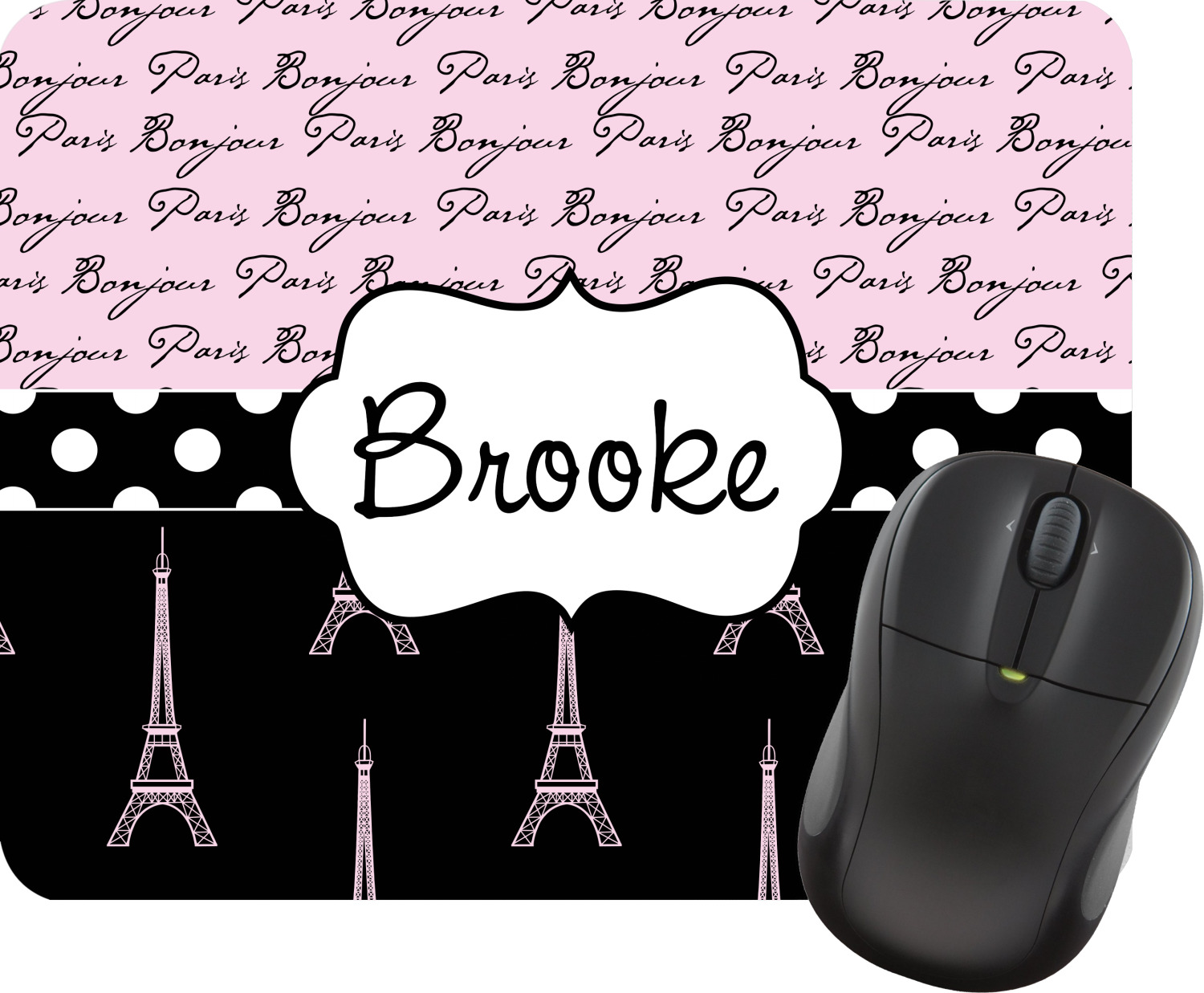 Paris Bonjour And Eiffel Tower Mouse Pad Personalized