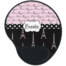 Paris Bonjour and Eiffel Tower Mouse Pad with Wrist Support