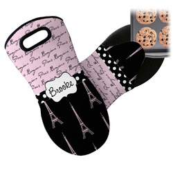 Paris Bonjour and Eiffel Tower Neoprene Oven Mitt (Personalized)