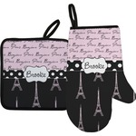 Paris Bonjour and Eiffel Tower Oven Mitt & Pot Holder (Personalized)