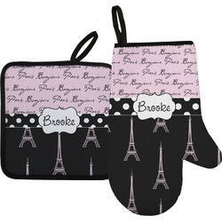 Paris Bonjour and Eiffel Tower Oven Mitt & Pot Holder Set w/ Name or Text