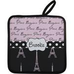 Paris Bonjour and Eiffel Tower Pot Holder (Personalized)