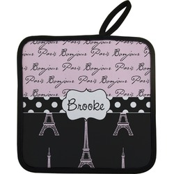 Paris Bonjour and Eiffel Tower Pot Holder (Personalized)