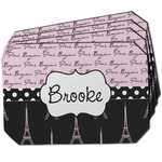Paris Bonjour and Eiffel Tower Dining Table Mat - Octagon w/ Name or Text