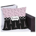 Paris Bonjour and Eiffel Tower Outdoor Pillow (Personalized)