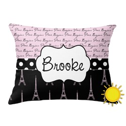 Paris Bonjour and Eiffel Tower Outdoor Throw Pillow (Rectangular) (Personalized)