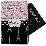 Paris Bonjour and Eiffel Tower Passport Holder - Fabric (Personalized)