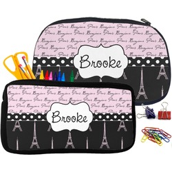 Paris Bonjour and Eiffel Tower Pencil / School Supplies Bag (Personalized)