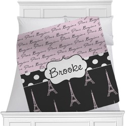 "Paris Bonjour and Eiffel Tower Fleece Blanket - Twin / Full - 80""x60"" - Single Sided (Personalized)"