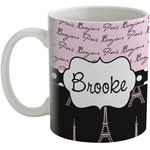 Paris Bonjour and Eiffel Tower Coffee Mug (Personalized)
