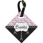 Paris Bonjour and Eiffel Tower Diamond Luggage Tag (Personalized)