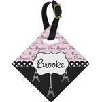 Paris Bonjour and Eiffel Tower Diamond Luggage Tag (Personalized)