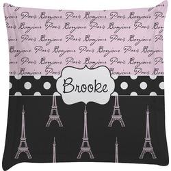 Paris Bonjour and Eiffel Tower Euro Sham Pillow Case (Personalized)
