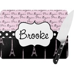 Paris Bonjour and Eiffel Tower Rectangular Glass Cutting Board (Personalized)
